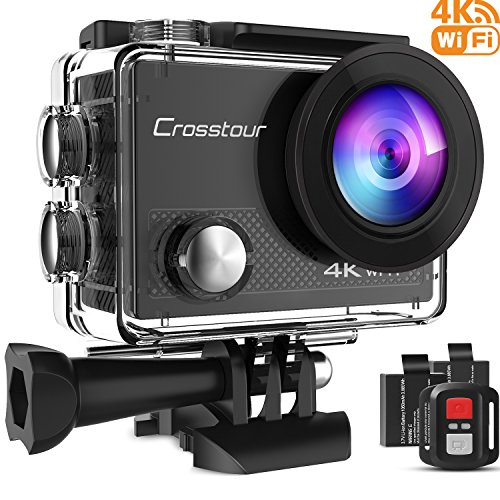 Crosstour 4K Action Cam WIFI 16MP Subacquea Ultra HD Sport Action Camera 170° Grandangolare due 1050mAh Batterie Custodia Impermeabile e Kit di Accessori