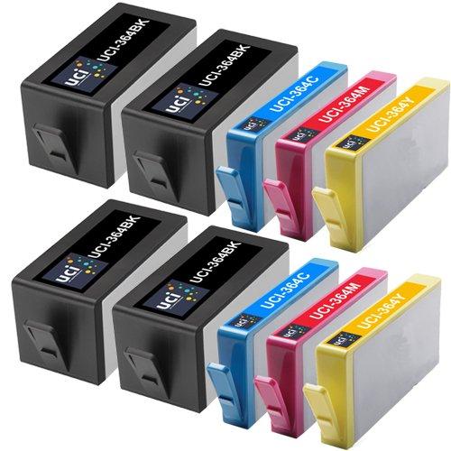 UCI 10 ( 4 Nero 2C 2M 2Y ) cartucce d'inchiostro Rigenerate sostituiscono HP CON CHIP 364 ( Non-Originale )