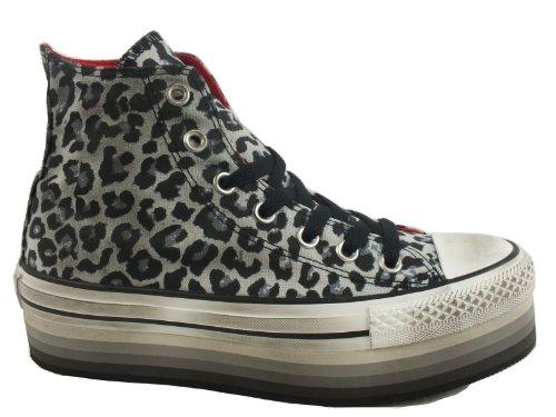 Converse, A/S HI Platform Eva Canvas, Sneaker donna, Multicolore (Oyster Gray/Black Leopard), 37.5