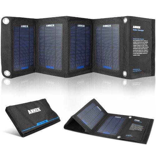 Caricatore Solare Pieghevole USB Pannello Solare Anker® 2 porte con tecnologia PowerIQ per dispositivi caricabili via USB 5V: GPS, iPhone, iPad, cellulari Android e tablet Android