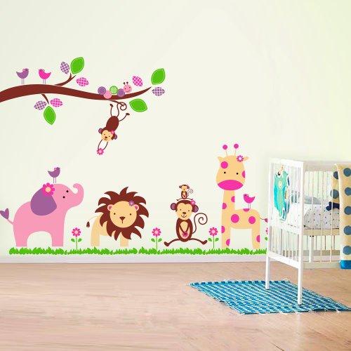 Walplus AY869 - Adesivi da parete/decorazione murale per la cameretta dei bambini, motivo animali della giungla, colore: Multicolore