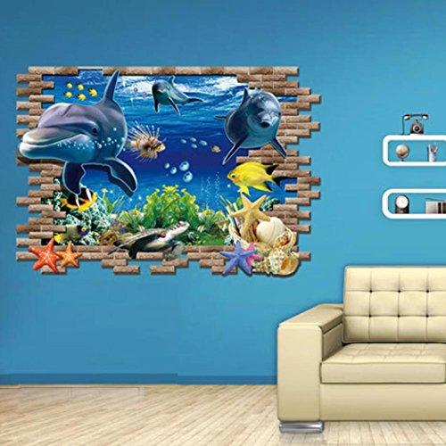 3d adesivo da parete, DDLBiz® Adesivi Murales, Delfino Sea wall stickers pesce 3D per i bambini in camera rimovibile decorazione fai da te decalcomanie adesivo carta da parati
