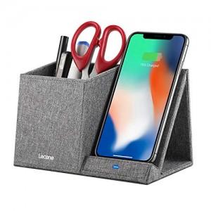 Lecone Caricatore Wireless con Organizzatori Porta caricatore a induzione in tessuto Portapenne 10W Ricarica Rapida certificato Qi,per iPhone Xs MAX/XR/XS/X/8/8 Plus, Samsung S10/S9/S9+/S8/S8+ e altri