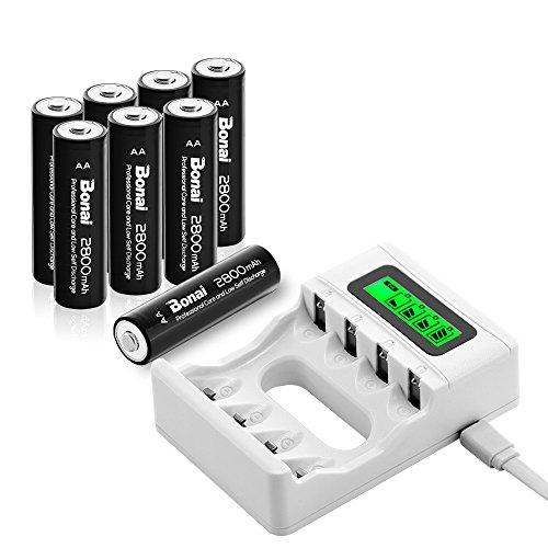 BONAI Caricabatterie per Batterie Ricaricabili AA e AAA Ni-MH Ni-CD, con USB Input and LCD, Confezione con 2800mAh AA Pile Ricaricabili da 8 Pezzi