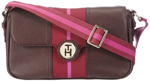 Tommy Hilfiger  DOTSY SMALL SATCHEL W/FLAP,  Borsa a spalla donna, Rosso (Rot (HARVARD RED 605)), 26x17x8 cm (B x H x T)