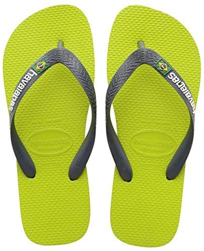 Havaianas Brasil Logo, Infradito, Unisex-bambino, Verde (Lime Green/Grey 3650), 43/44 EU (41/42 BR)