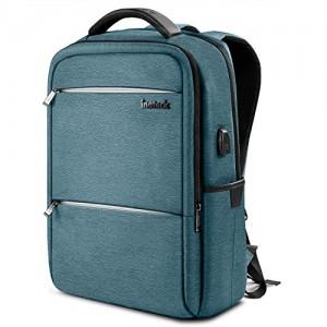 Inateck Zaino per laptop da 15-15,6 pollici anti borseggio anti graffio con presa ricarica USB e anti-spruzzo d'acqua con la cover anti-pioggia, Unisex Multiuso Antifurto Zaino Per Business-blu