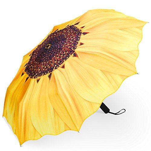 PLEMO Ombrello Pioggia Pieghevole Mini Resistenti Automatico da Viaggio Borsa, Girasole Giallo