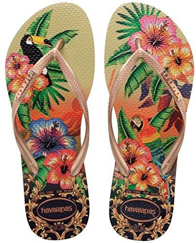 Havaianas - Slim Tropical, Sandalo da donna, multicolore (sand grey/rose/rose 8625), 41/42