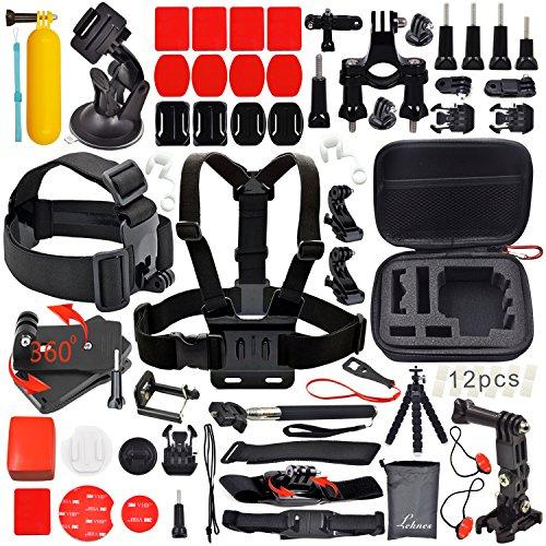 """Leknes Kit accessori sport esterni bundle per telecamere e sj4000 / telecamere sj5000 e per gopro hero 4/3 + / 3/2/1 piccola dimensione EVA antiurto Borsa (6,8 x5 """"x2.7"""" """") +Pancia / Supporto capo Strap +Allungabile portatile Monopiede con Telefono morsetto + Car ventosa + Manubrio della bici Holder + Floating Hand Grip + Remote Nylon cinturino da polso + Inserti Ant-nebbia + curve Monti superficie piana + J-ganci adattatori + blocco rubber plug + adattatore treppiede + surface fibbia a sgancio + cinghie di assicurazione + borsa"""